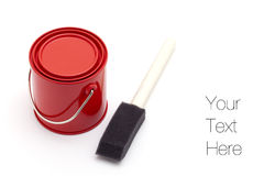Red paint bucket and sponge brush Royalty Free Stock Images