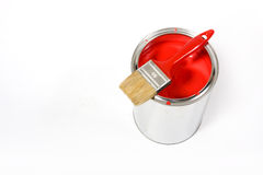 Red paint can. With brush isolated on a white background - with clipping path royalty free stock photos