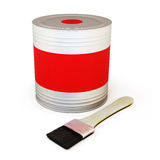 Red paint can with brush Stock Photos
