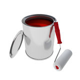 Red Paint Can with roller brush isolated on white. 3d rendering of Paint Can isolated on white Stock Image