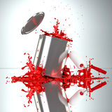 Red Paint Can with roller brush and splash. Falling paint can bursts red color splash Stock Photos