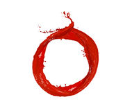 Red paint circle, isolated on white background. Abstract red paint splash circle, isolated on white background Stock Photos