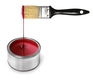 Red paint dripping brush Royalty Free Stock Images