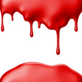 Red paint dripping isolated over white background. 3D Stock Photos