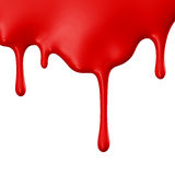 Red paint dripping isolated over white background Stock Photos