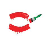 Red paint and green brush.Vector illustration Royalty Free Stock Image