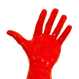 Red paint on hand Royalty Free Stock Photo