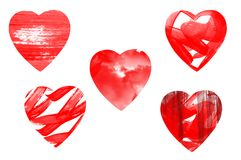 Red paint hearts Royalty Free Stock Image