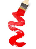 Red paint line. Close up of red paint line on white background with clipping path stock photo