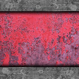 Red, paint, old rusty iron wall grunge abstrac Stock Photo