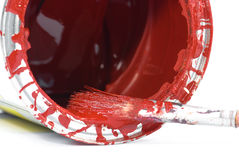 Red paint and old used brush Royalty Free Stock Image