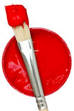 Red paint with paintbrush Royalty Free Stock Image