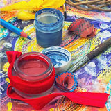 Red paint,pencil and accessories Royalty Free Stock Images
