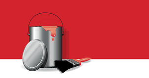 Red paint pot background Stock Photo