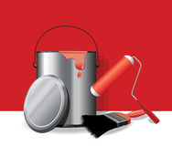 Red paint pot background Royalty Free Stock Image