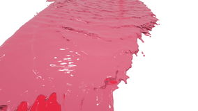 Red paint pouring on white in slow motion. colored water stock footage