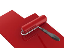 Red paint roller Stock Photo
