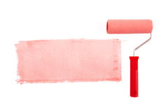Red paint roller Stock Photography