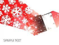 Red paint with snowflakes on brush. Brush with red paint and snowflakes on a white background. There is a place for text and logo Royalty Free Stock Photos