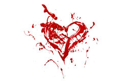 Red paint splash made love heart Royalty Free Stock Images