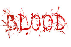Red paint splash painted word blood Royalty Free Stock Photography