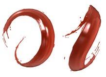 Red paint splashes II. Red paint splashes isolated on white background. 3D image stock illustration