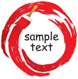 Abstract strokes of red paints in a circle and brushes. royalty free illustration