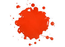 Red Paint Splatter. Isolated over white background stock photo