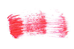 Red paint stroke with oil paint on white background Royalty Free Stock Photography