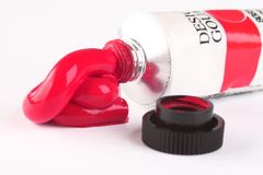 Red paint tube. Ink for paintings Stock Image