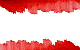 Red paint on a white background top and bottom. Red paint strokes on white background top and bottom stock image