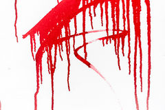 Red paint on white wall. Looking like blood royalty free stock image