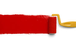 Red Paint Yellow Roller Royalty Free Stock Photos