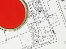 Red Paintcan And Blueprint Royalty Free Stock Images