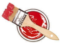 Red Paintcan And Brush Royalty Free Stock Photos