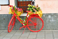 Red bicycle decorated by flowers. Taken at Chioggia, Italy in February 2017. It is low season for tourism and it is very quiet during the day. Still one Royalty Free Stock Images