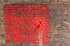 Red painted brick wall background Stock Image