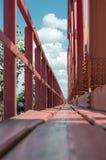 Red painted bridge floor Stock Image