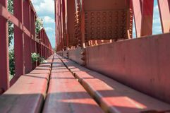 Red painted bridge floor Royalty Free Stock Image