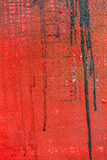 Red painted canvas background with paint leak drips Royalty Free Stock Image
