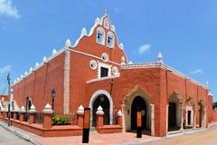Red painted Catholic Church, Valladolid, Yucatan Stock Image