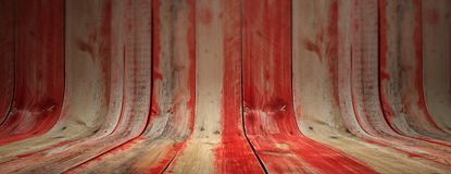 Red painted and faded, curved wooden background, banner. Red painted and faded curved wooden planks, texture background, banner. Wooden wall and floor for royalty free stock photography