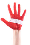 Red Painted Hand With white stripe Stock Photo