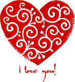 Red painted heart with white ornament Stock Photo