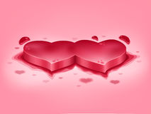 Red painted hearts Stock Images