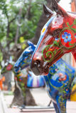 Red Painted Horse Art Statue in La Boca Stock Image