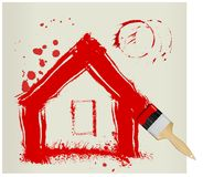 A red painted house Stock Images