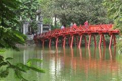 The red painted Huc Bridge at Hoan Kiem lake in Hanoi, Vietnam. - Series 3 Royalty Free Stock Photos