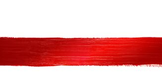Red painted line. Red line on a white background stock photography