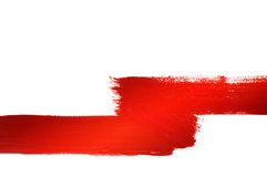Red painted line. White space around Stock Photo